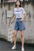 Load image into Gallery viewer, High waist wide leg denim jean shorts L004#