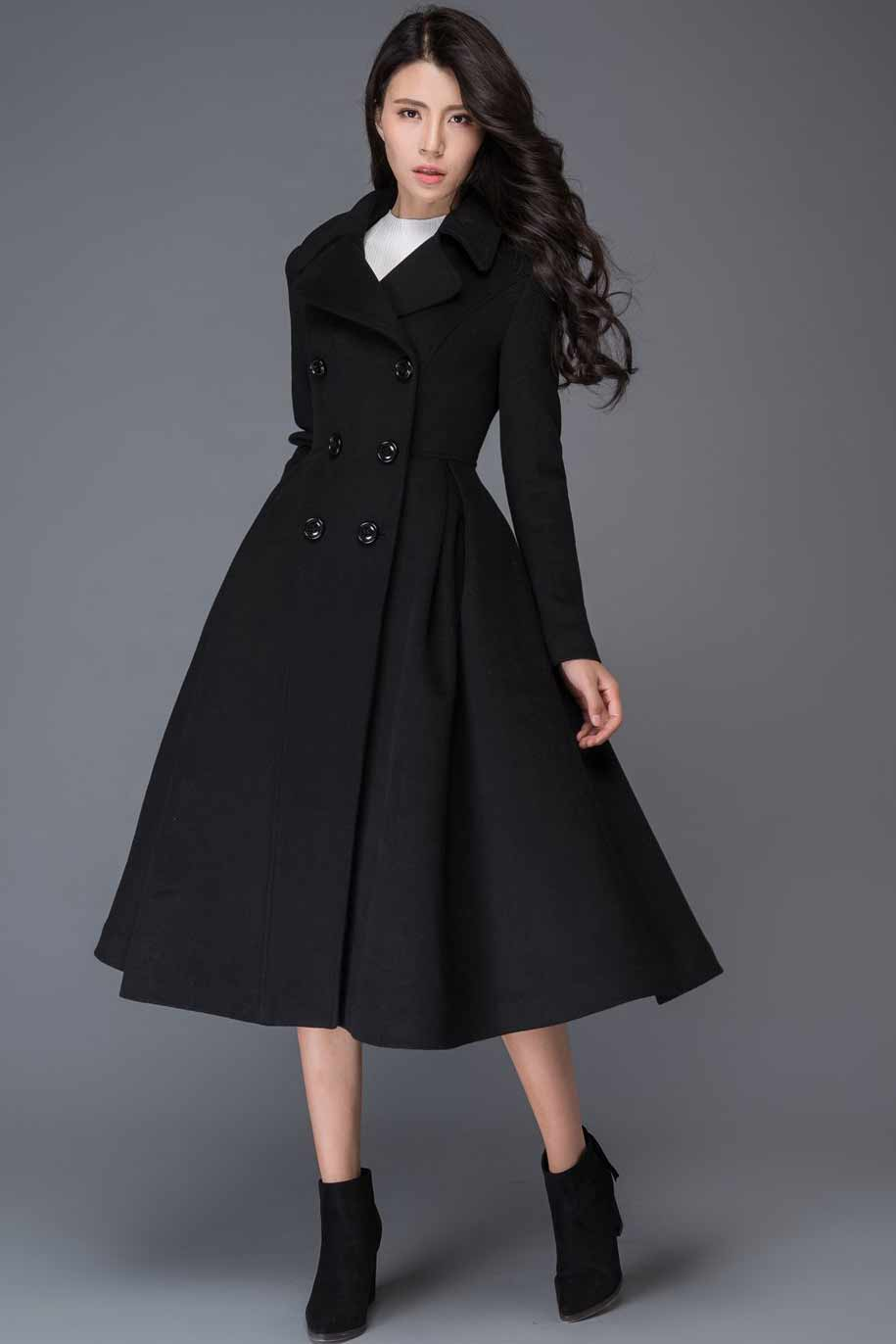 Double breasted maxi wool coat C1019#