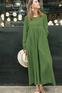 Long sleeve high waist maxi linen dress C1383