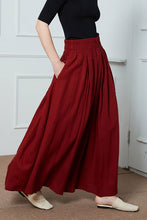 Load image into Gallery viewer, high wasit linen maxi skirt C1396