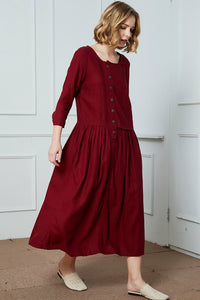 Asymmetrical Linen Maxi Dress C1415