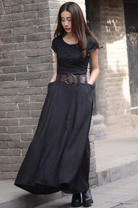 Black long linen dress in pure color for women with pockets C1568