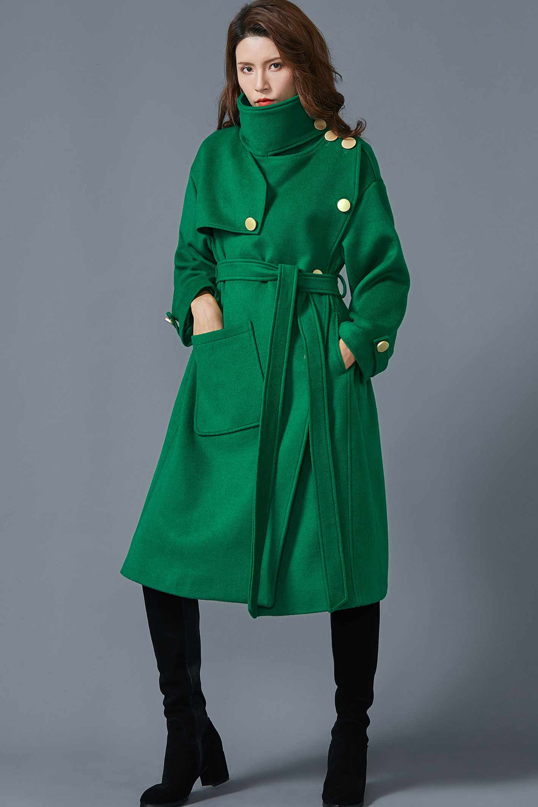 Green wool winter coat coat with pockets C1615#