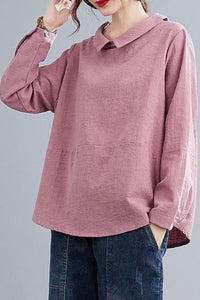 Pink Long Sleeves Linen Tops C200301