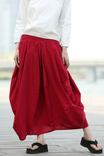 Load image into Gallery viewer, elastic waist red linen maxi skirt C329
