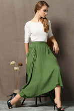 Load image into Gallery viewer, Casual linen maxi skirt C871#
