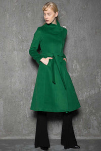 Elegant wool maxi coat C713#