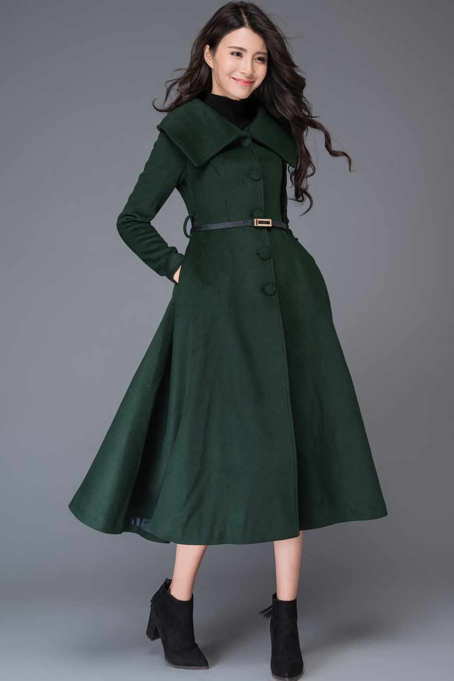 vintage inspired swing maxi wool coat C998#