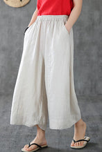 Load image into Gallery viewer, White linen wide leg trousers loose leg linen summer 190159