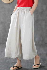 White linen wide leg trousers loose leg linen summer 190159