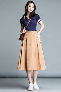Comfortable simple high waist a-line skirt CYM032-190064