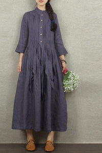 Long linen skirt with loose waist and 9 minute sleeves 190230
