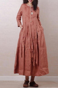 Literary style retro pleated long sleeves  linen maxi dress 190237