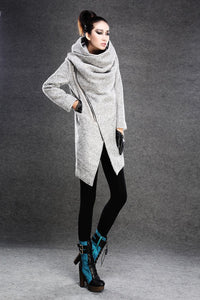 Asymmetrical Women's wool Jacket Coat C134#