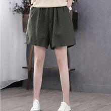 Load image into Gallery viewer, Women's Elastic wasit linen short C1393#