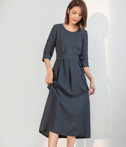 Casual linen maxi dress with 3/4 sleeve C1756