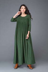 green wool dress