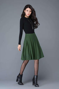Green high waisted wool pleated skirt  C1031