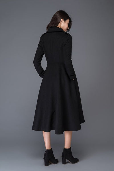 Double Button Wool Coat with Black C1019