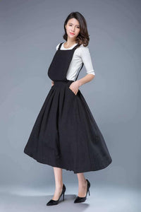 Black linen pinafore dress C1053