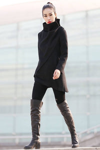 Winter asymmetrical  black wool coat C227