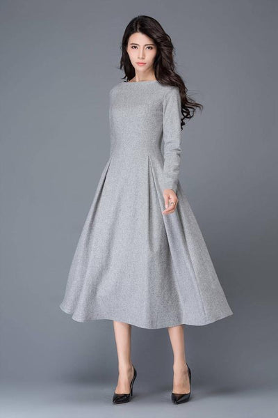 long wool dress