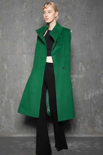 Green wool wrap coat C713