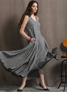 V Neck Loose Sleeveless Maxi Dresses C418