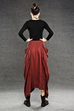 Load image into Gallery viewer, Red Linen Maxi Skirt C050