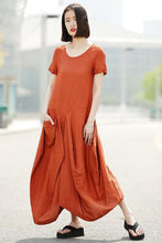 Load image into Gallery viewer, Orange linen dress