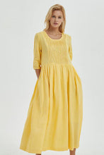 Load image into Gallery viewer, Yellow loose linen summer maxi dress C1271