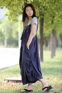 blue linen pinafore dress C278
