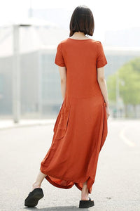 short sleeves linen dress