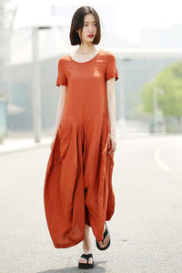 Loose fit linen dress