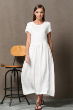 Load image into Gallery viewer, white linen dress