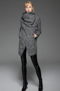Asymmetrical Zip Wool Blend Coat C745