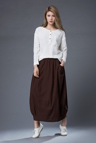 Brown Linen Skirt C861