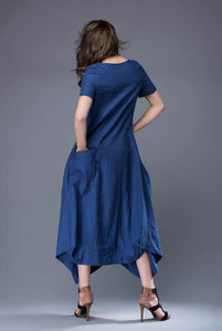 Blue Linen Dress - Lagenlook Long Maxi Short-Sleeved Loose-Fitting Asymmetrical Designer Dress with Large Pockets C883