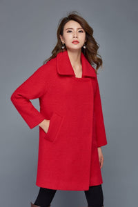Red wool coat, womens wool coats, wool coat, winter wool coat, womens jackets, warm wool coat, Short wool coat, loose coat C960