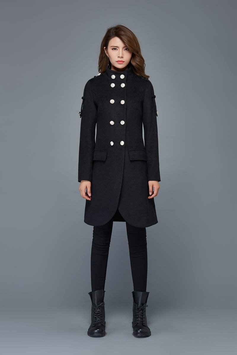 wool coat, Military coat, womens coats, mandarin collar coat, double breasted coats, black jacket, winter coat, mid length coat C980