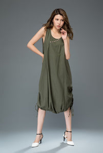 Modern Loose Sleeveless Casual Dress with Drawstring Detail C930