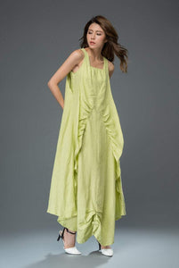lime green linen dress, linen dress, long linen dress, maxi dress, sleeveless dress, womens dress C920