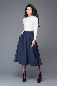 Blue wool skirt, winter skirt, pocket skirt, midi skirt, blue skirt, womens skirts, high waist skirt, vintage skirts, custom skirt C1007