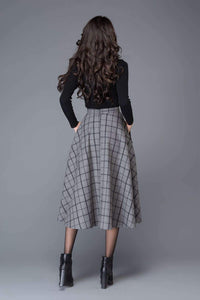 plaid skirt, Gray Skirts, wool skirt, midi skirt, womens skirts, skirt with pockets, winter skirt, plaid wool skirt, wool plaid skirt  C1005