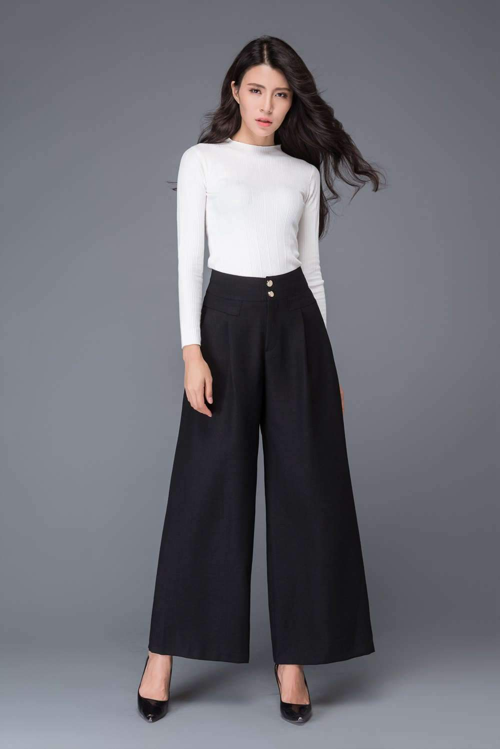 Black wool pants, Womens long wool pants, winter wide leg wool pants, black wool palazzo pants, winter warm pant with pockets C1014