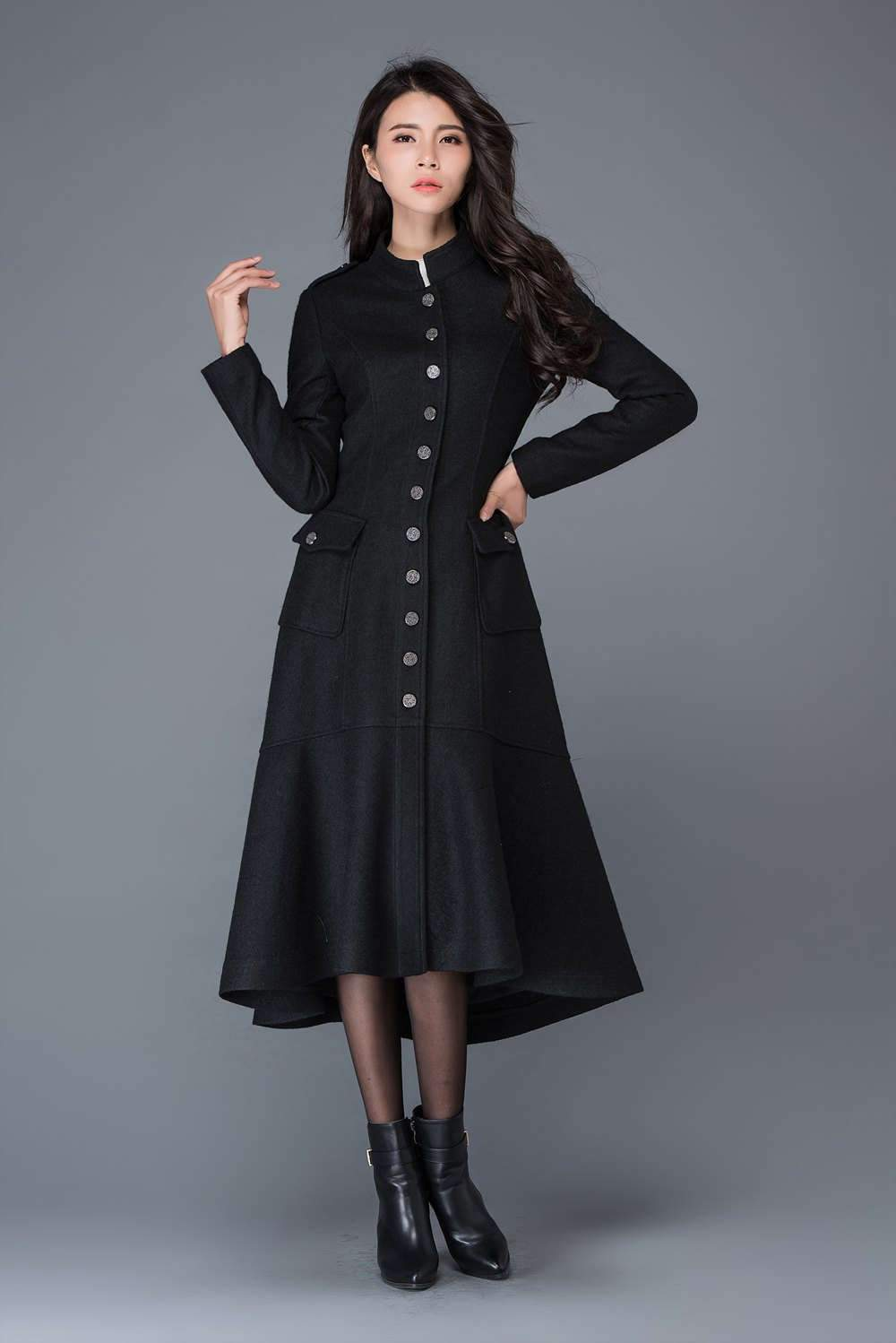 Maxi coat, wool coat, long black coat, dress coat, winter warm coats, womens coats, asymmetrical coat, women jacket, girls coat C1029