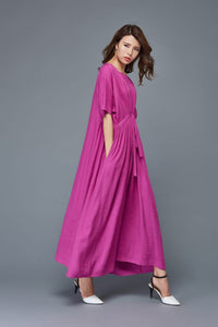 Plus size maxi dress, linen dress, linen women dress, long dress, linen wrap dress, summer dress, plus size dress, loose fitting dress  C982