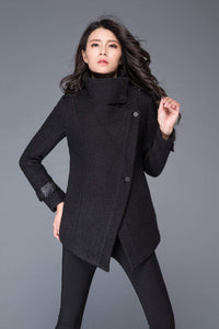 Women's Black asymmetrical wool jacket C987#