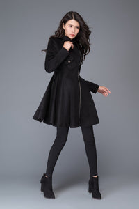 black coat, Asymmetric coat, winter coat, wool coat, zipper coat, women jackets, womens coats, custom coat, fit and flare coat C990