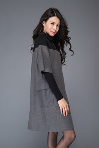 Wool patch work tunic dress for winter C1012